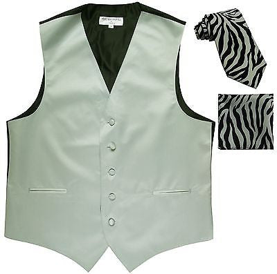 New Men's Formal Vest Tuxedo Waistcoat & silver zebra Necktie & Hankie XS to 6XL