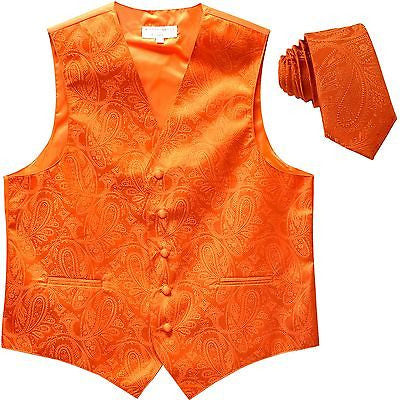 New Men's Formal Vest Tuxedo Waistcoat_necktie paisley pattern wedding orange