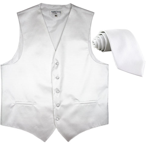 New formal men's tuxedo vest waistcoat & necktie horizontal stripes prom white