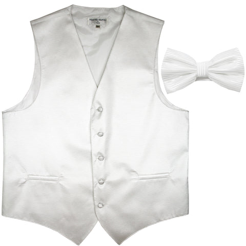 New formal men's tuxedo vest waistcoat & bowtie horizontal stripes prom white