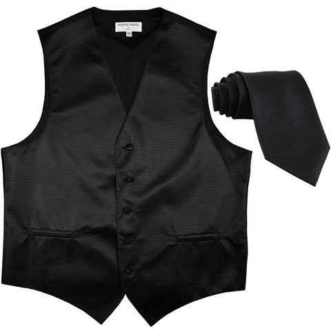 New formal men's tuxedo vest waistcoat & necktie horizontal stripes prom black
