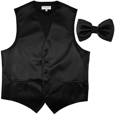 New formal men's tuxedo vest waistcoat & bowtie horizontal stripes prom black