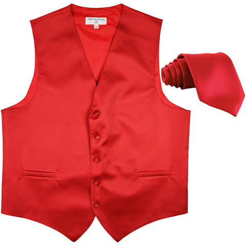 New formal men's tuxedo vest waistcoat & necktie horizontal stripes prom red