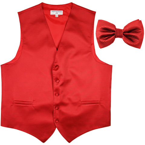 New formal men's tuxedo vest waistcoat & bowtie horizontal stripes prom red