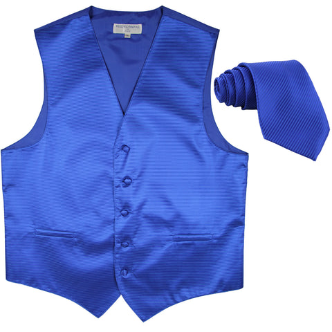 New formal men's tuxedo vest waistcoat & necktie horizontal stripes prom royal