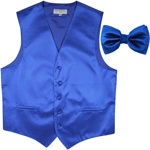 New formal men's tuxedo vest waistcoat & bowtie horizontal stripes prom royal blue