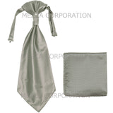 New 100% Polyester Men's Horizontal Stripes Ascot Cravat & Hankie Set Wedding Prom