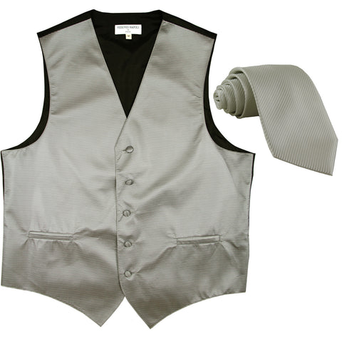 New formal men's tuxedo vest waistcoat & necktie horizontal stripes prom gray