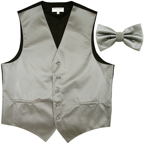 New formal men's tuxedo vest waistcoat & bowtie horizontal stripes prom gray