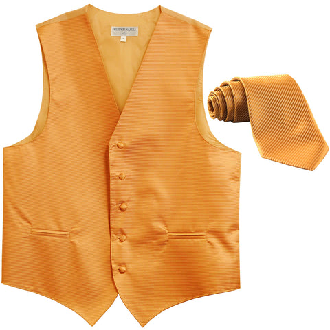 New formal men's tuxedo vest waistcoat & necktie horizontal stripes prom gold