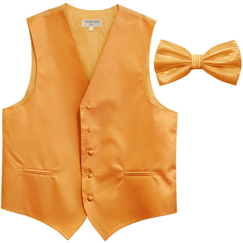 New formal men's tuxedo vest waistcoat & bowtie horizontal stripes prom gold
