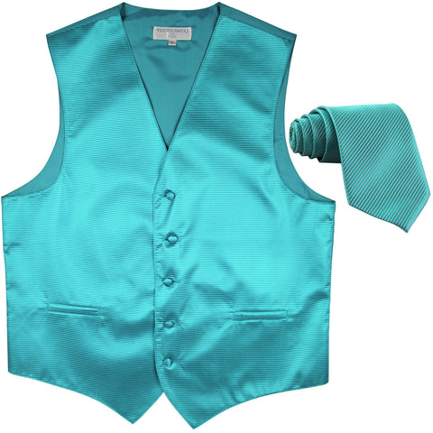 New formal men's tuxedo vest waistcoat & necktie horizontal stripes prom turquoise