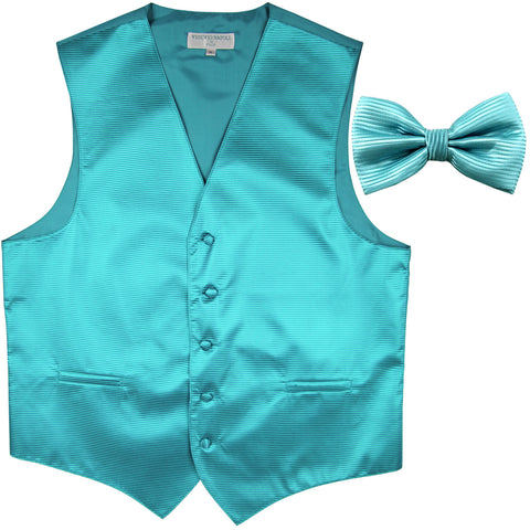 New formal men's tuxedo vest waistcoat & bowtie horizontal stripes prom turquoise