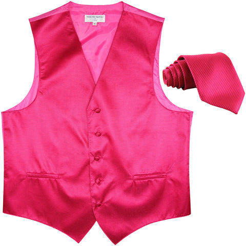 New formal men's tuxedo vest waistcoat & necktie horizontal stripes prom hot pink
