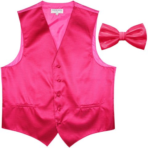 New formal men's tuxedo vest waistcoat & bowtie horizontal stripes prom hot pink