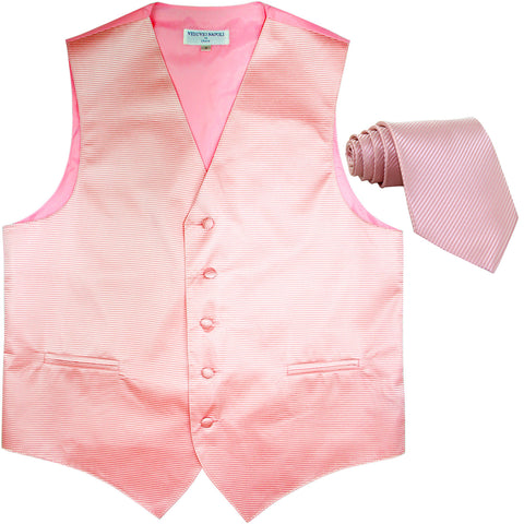 New formal men's tuxedo vest waistcoat & necktie horizontal stripes prom pink