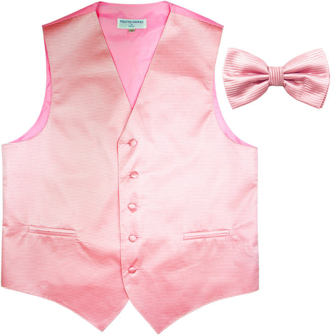 New formal men's tuxedo vest waistcoat & bowtie horizontal stripes prom pink