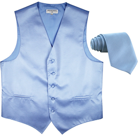 New formal men's tuxedo vest waistcoat & necktie horizontal stripes prom light blue