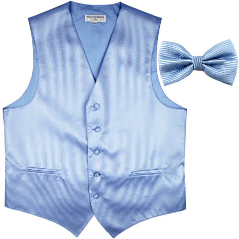 New formal men's tuxedo vest waistcoat & bowtie horizontal stripes prom light blue