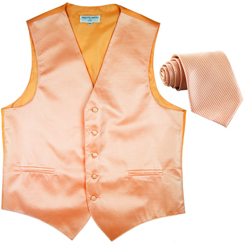 New formal men's tuxedo vest waistcoat & necktie horizontal stripes prom peach