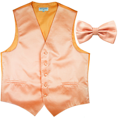 New formal men's tuxedo vest waistcoat & bowtie horizontal stripes prom peach