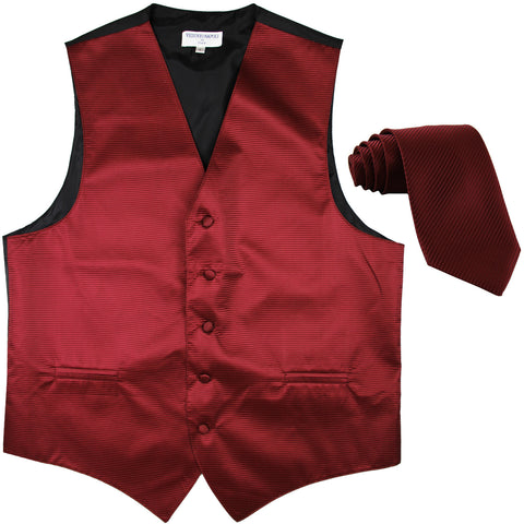 New formal men's tuxedo vest waistcoat & necktie horizontal stripes prom burgundy