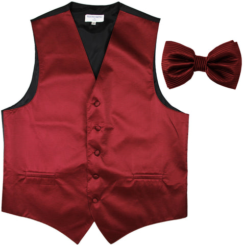 New formal men's tuxedo vest waistcoat & bowtie horizontal stripes prom burgundy