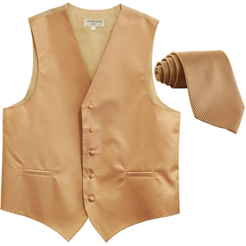 New formal men's tuxedo vest waistcoat & necktie horizontal stripes prom beige