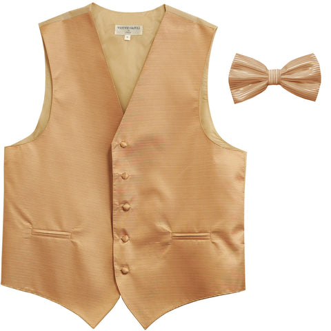 New formal men's tuxedo vest waistcoat & bowtie horizontal stripes prom beige