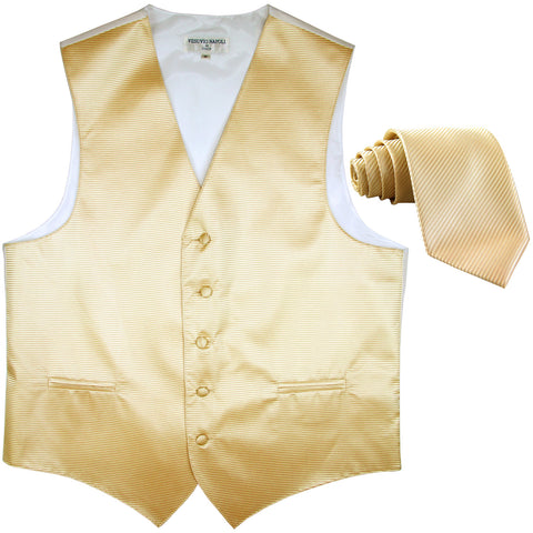New formal men's tuxedo vest waistcoat & necktie horizontal stripes prom ivory