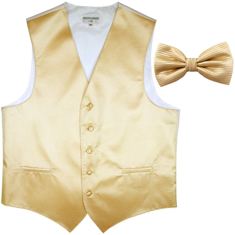 New formal men's tuxedo vest waistcoat & bowtie horizontal stripes prom ivory