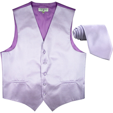 New formal men's tuxedo vest waistcoat & necktie horizontal stripes prom lavender