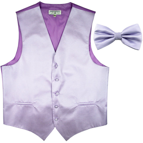 New formal men's tuxedo vest waistcoat & bowtie horizontal stripes prom lavender