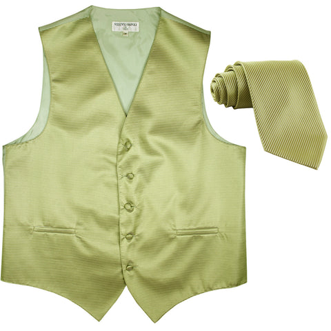 New formal men's tuxedo vest waistcoat & necktie horizontal stripes prom sage green