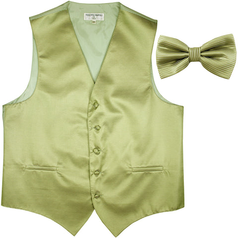 New formal men's tuxedo vest waistcoat & bowtie horizontal stripes prom sage green