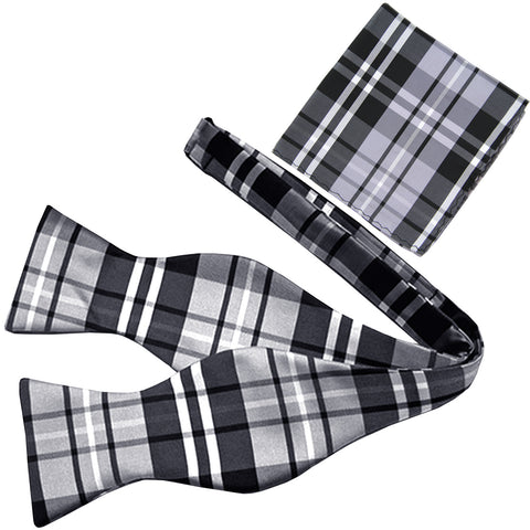 New men/'s self tie free style bow tie set plaid /& checkers formal wedding red