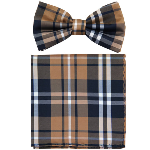 New formal men's pre tied Bow tie & Pocket Square Hankie plaid checkered