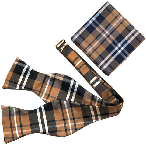 New Men's Polyester plaid checker self-tied Bow Tie & hankie set formal