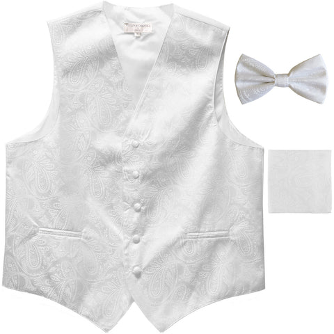 Men's paisley Tuxedo VEST Waistcoat_bowtie & hankie set formal wedding white