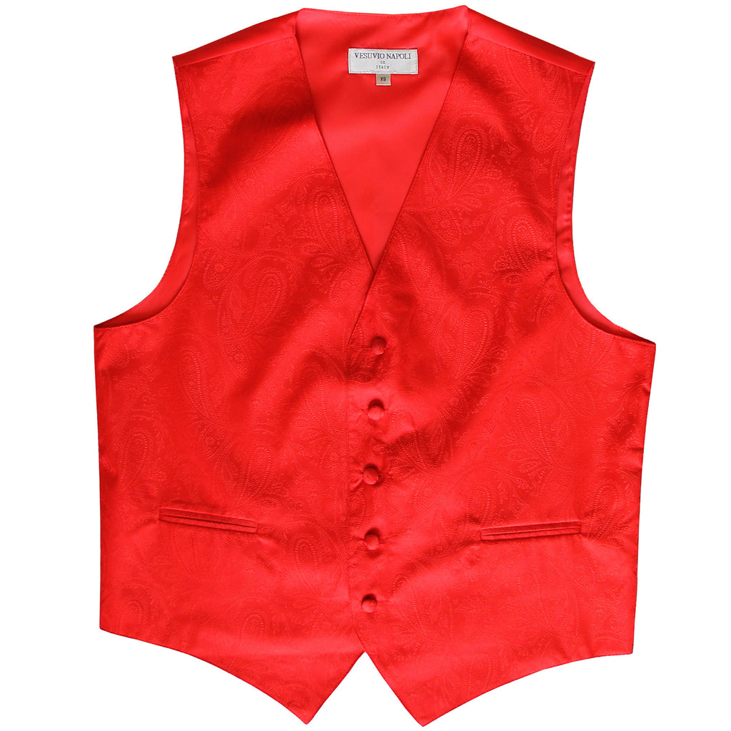 New formal men's tuxedo vest waistcoat only paisley pattern prom wedding red