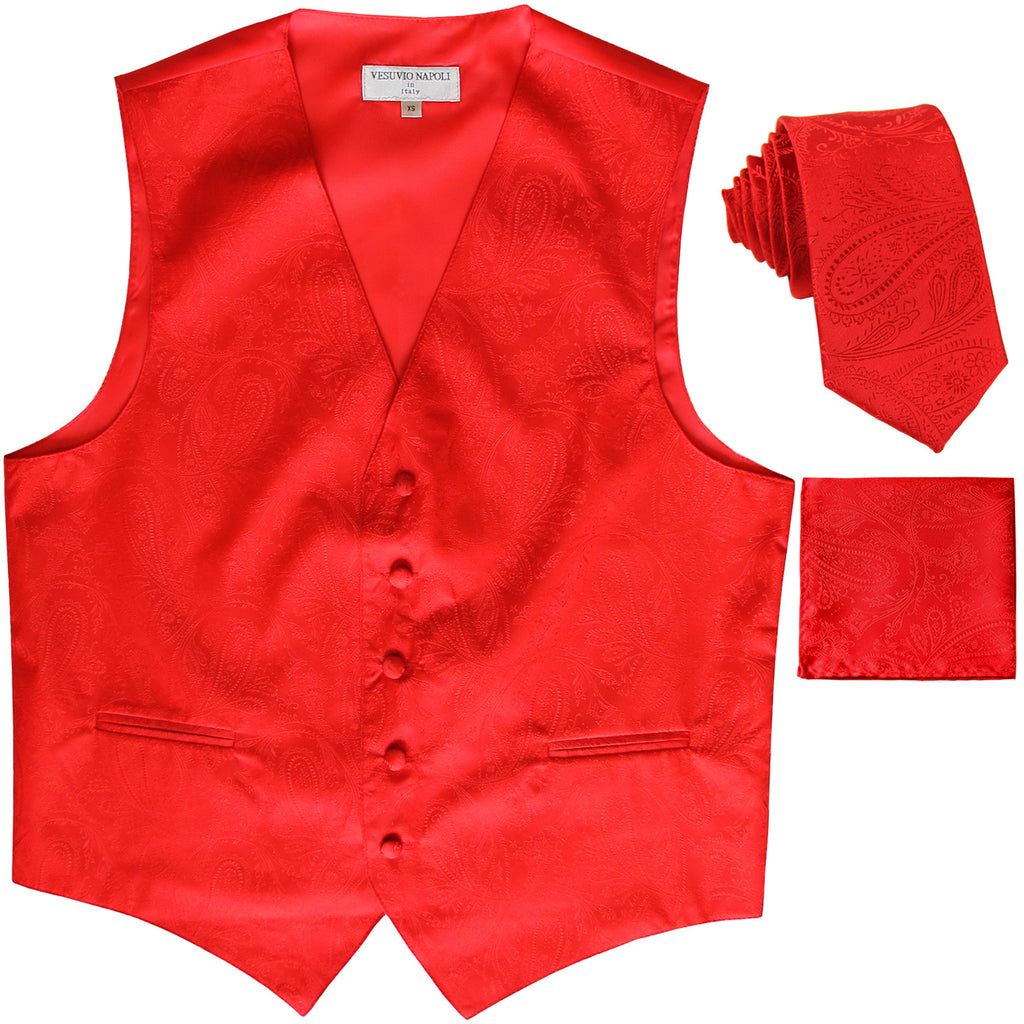 New Men's Formal Vest Tuxedo Waistcoat_necktie set paisley pattern prom red
