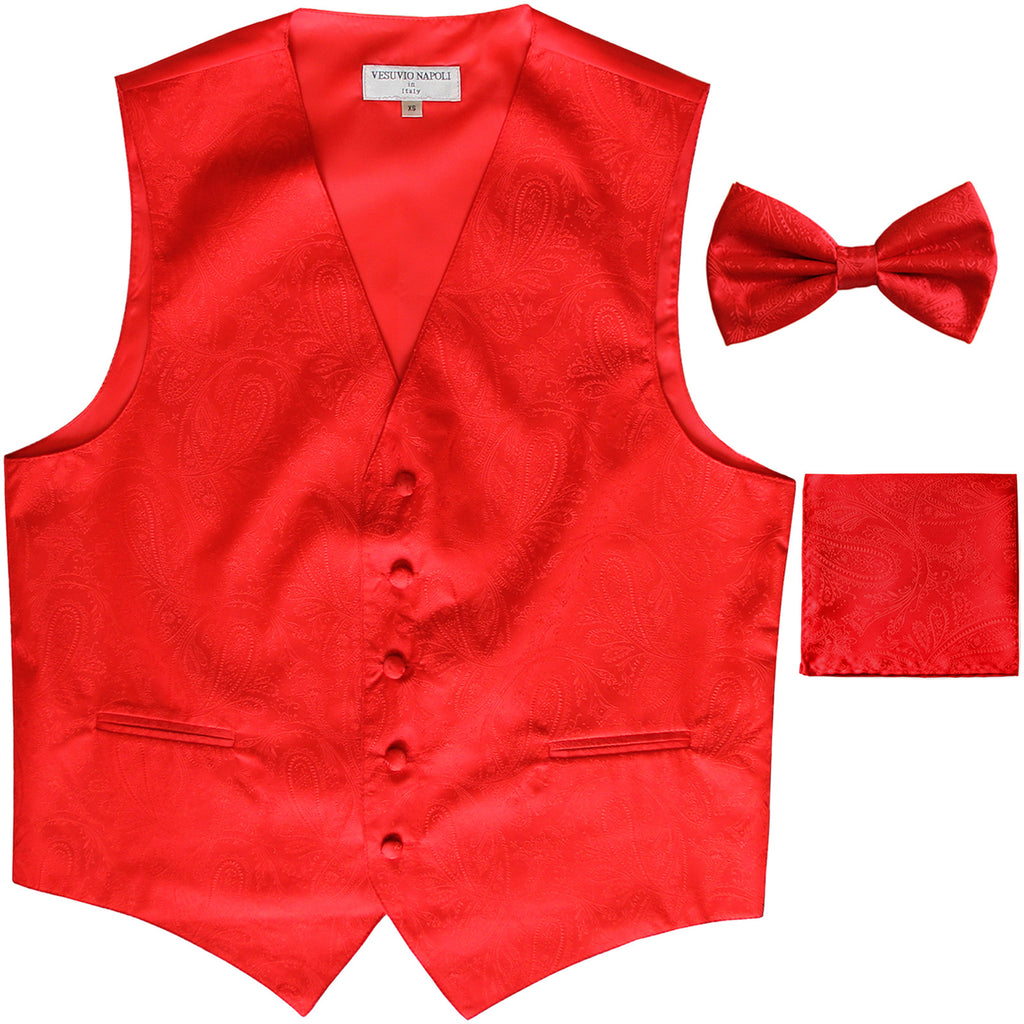 Men's paisley Tuxedo VEST Waistcoat_bowtie & hankie set formal wedding red