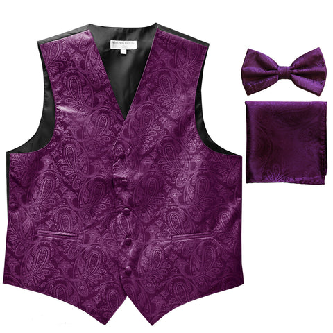 Men's paisley Tuxedo VEST Waistcoat_bowtie & hankie set formal wedding dahila purple