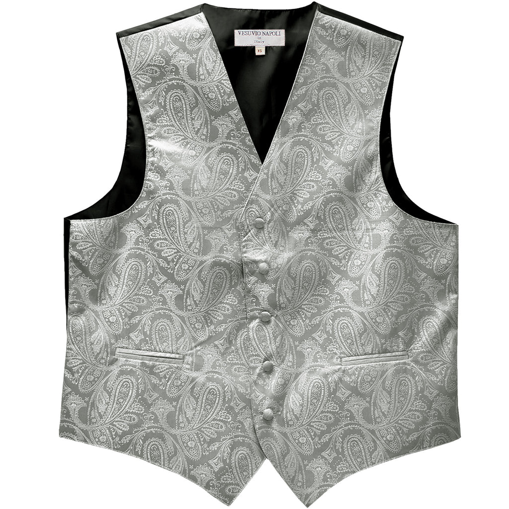 New formal men's tuxedo vest waistcoat only paisley pattern prom wedding silver