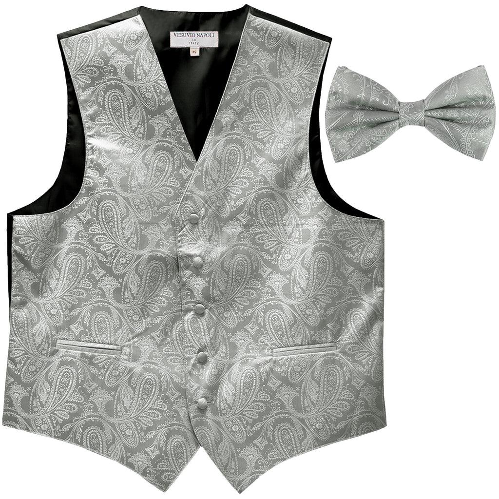 New Men's Formal Vest Tuxedo Waistcoat_bowtie paisley pattern wedding silver