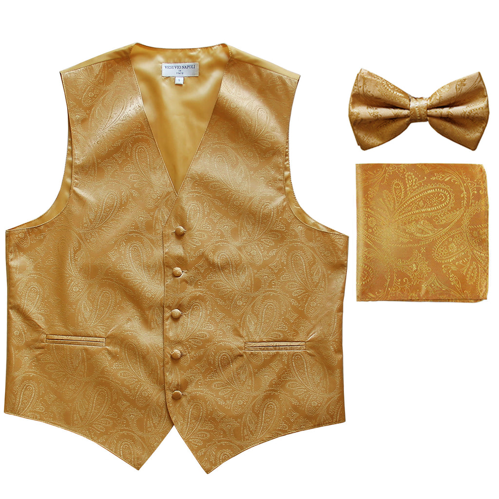 Men's paisley Tuxedo VEST Waistcoat_bowtie & hankie set formal wedding gold