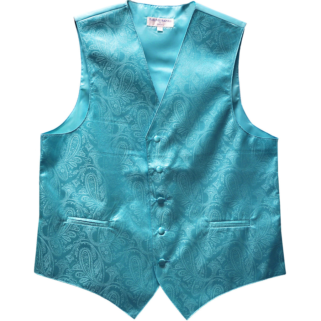 New formal men's tuxedo vest waistcoat only paisley pattern prom wedding turquoise