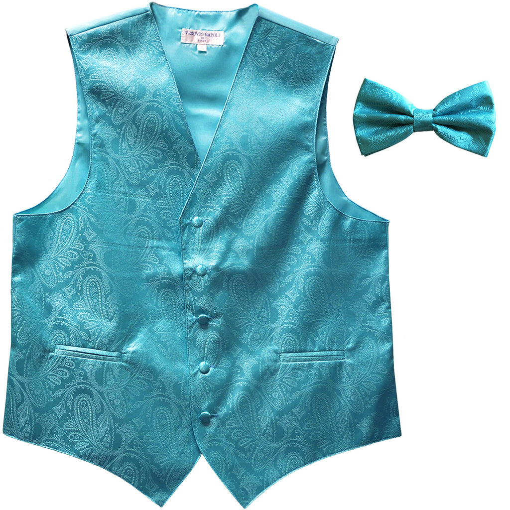 New Men's Formal Vest Tuxedo Waistcoat_bowtie paisley pattern wedding turquoise