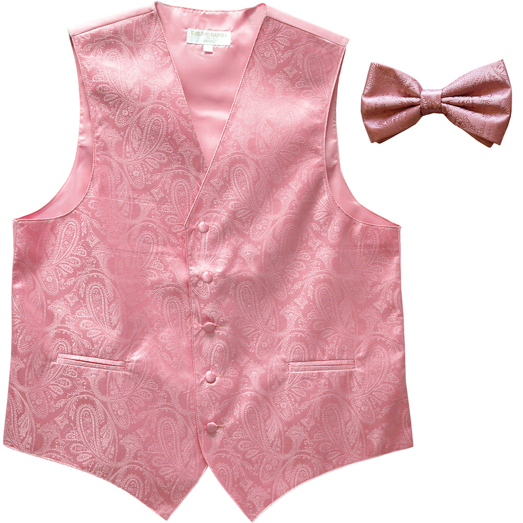 New Men's Formal Vest Tuxedo Waistcoat_bowtie paisley pattern wedding pink