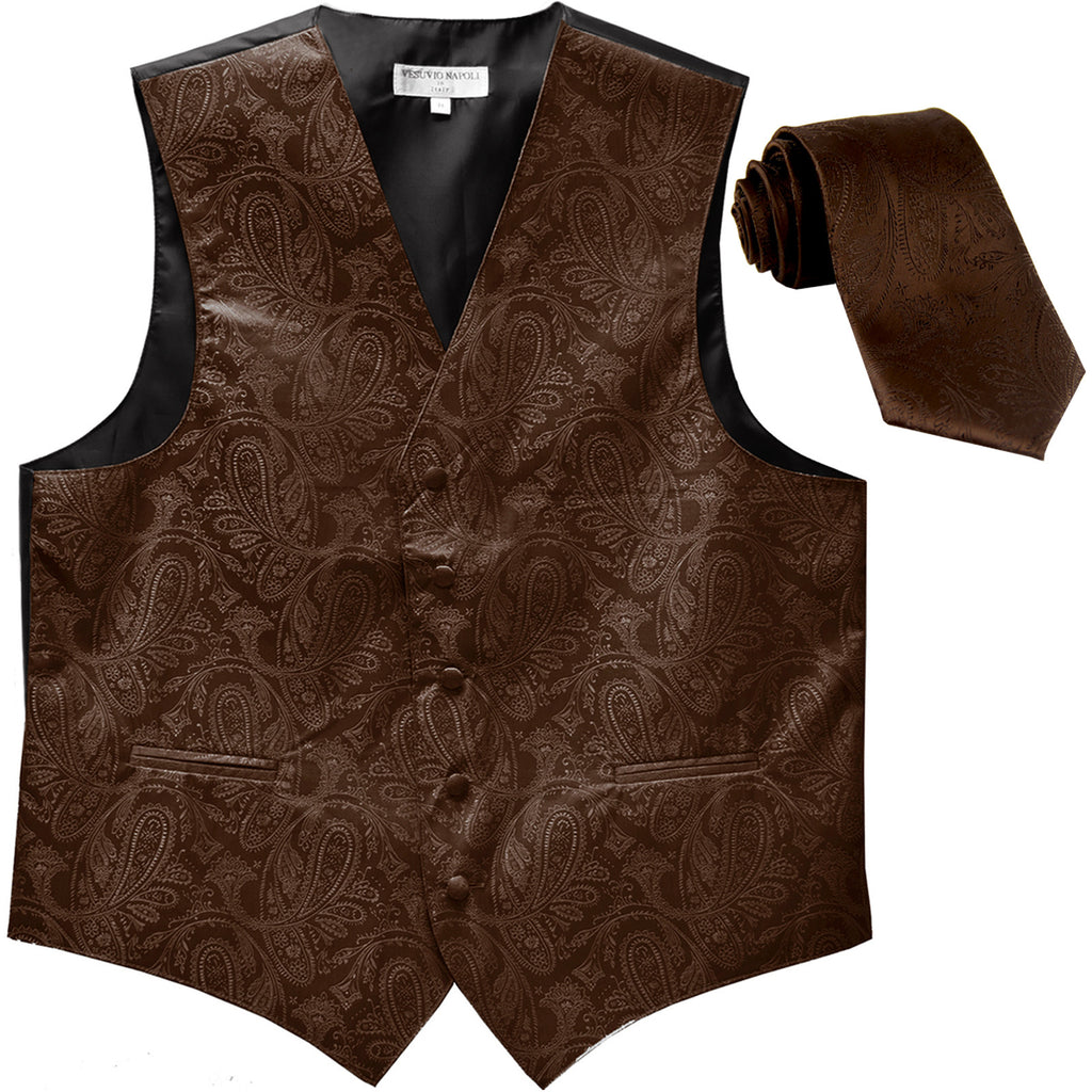 New Men's Formal Vest Tuxedo Waistcoat_necktie paisley pattern prom brown
